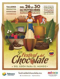 5.º Festival del Chocolate en Villahermosa. Del 26 al 30 de noviembre de 2014 en el Parque Tabasco.