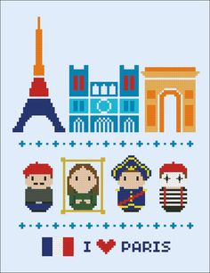 Paris icons - Mini people around the world - PDF cross stich pattern
