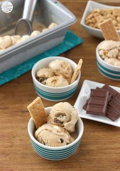 Peanut Butter Smores Ice Cream Recipe l www.a-kitchen-addiction.com