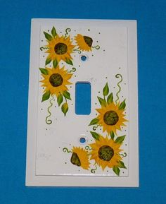Light Switch Cover Decorative Electrical Plate Wood Single Outlet Plug Cover Hand Painted Sunflowers Custom Home Kitchen Decor Mirror Painting, Light Painting, Diy Painting, Painting On Wood, Light Switch Art, Light Switch Plates, Switch Plate Covers, Light Switch Covers, Diy Papier
