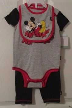 Disney Baby, Mickey Mouse Awesome!, 3/6 Months, Bibb, Body Suit & Pants, NWT's #DisneyBaby #DressyEverydayHoliday