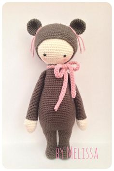 BINA the bear made by Melissa G. / crochet pattern by lalylala