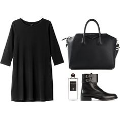 Simple Black Dress and Boots; Easy Weekend and Work Outfit; Tran-seasonal, Spring and Autumn.