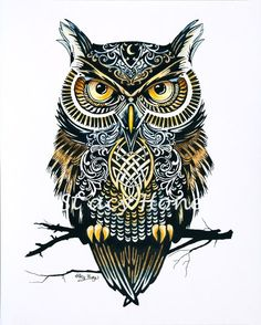 Owl of the Zodiac Ink and Water Color Print by PaintingsOfPeace