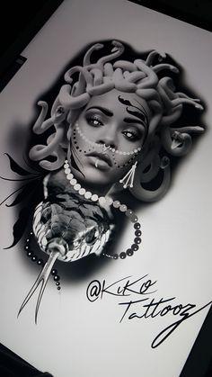 Tattoo Week, X Tattoo, Chest Tattoo, Medusa Tattoo Design, Tattoo Design Drawings, Tattoo Sketches, Medusa Drawing, Medusa Art, Chicano Tattoos