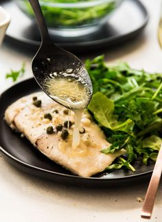 This quick and easy baked fish recipe is perfect for busy weeknights! Baked barramundi in a five-minute wine sauce with garlic, capers, lemon, and butter. Frozen Seafood, Fish And Seafood, Easy Baked Fish Recipes, Baked Whiting Fish Recipes, Savoury Recipes, Lemon Garlic Pasta, Baked Garlic, Barramundi Recipes, Sustainable Seafood