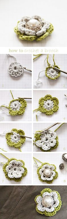 Crocheted broach out of vintage jewelry. Not in English, but the photos are very clear!