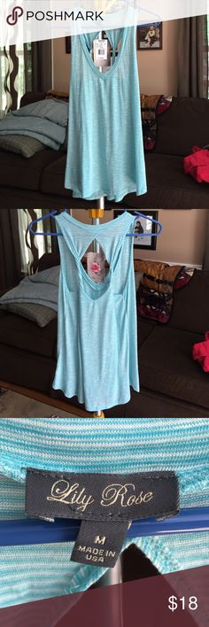 Tank top by Lily rose sold in kohls Tank top by Lily rose sold in kohls - lightweight cotton size M - turquoise/white stripe Lily Rose Tops Tank Tops