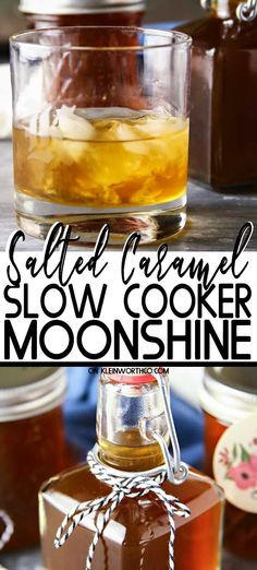 Looking for a special homemade gift for friends & neighbors? Make this super easy Slow Cooker Salted Caramel Moonshine that's perfect for holiday sipping. Flavored Moonshine Recipes, Homemade Moonshine, How To Make Moonshine, Salted Caramel Moonshine Recipe, Making Moonshine, Homemade Alcohol, Homemade Liquor, Homemade Eggnog, Drink