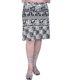 Buy White and Black Wrap-around Mini-Skirt with Printed Elephants and F - and Find More From Our Large Selection of Women's Skirts With Big Discount. Wrap Around, Elephants, Women's Clothing, Mini Skirts, Fashion Outfits, Printed, Stuff To Buy, Clothes, Black