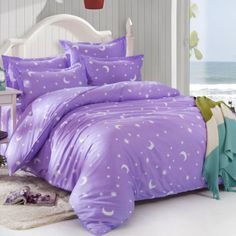 Sky-Violet-Star-Mon-Double-Queen-King-Size-Bed-Set-Pillowcases-Quilt-Duvet-Cover
