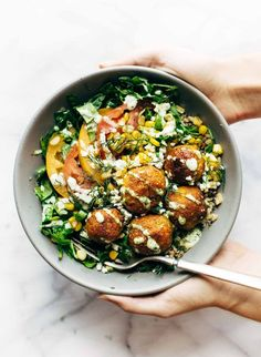 Summer Bliss Bowl with Sweet Potato Falafel and Jalapeno Ranch | Pinch of Yum