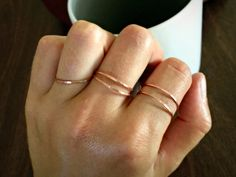 Thin Hammered Solid Copper Minimalist Stacking Rings by canvasandcrow on Etsy