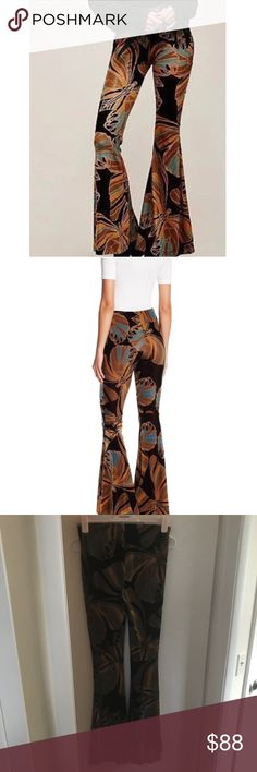 """NWT Free People """"Float Away"""" Velvet flares Retro-inspired printed pull-on velvet flares in a mid-rise. This effortless and slightly stretchy style features an elastic waistband. 10% Spandex 32% Nylon 58% Polyester Free People Pants Boot Cut & Flare"""