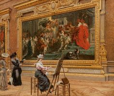Louis Béroud ~ The Earnest Pupil in the Rubens Room, 1902 ~ (French: 1852-1930)