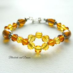 Amber and Topaz Glass Beaded Bracelet - The Supermums Craft Fair