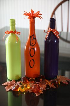 Wine Bottle Halloween Decor.