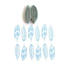 Geo Feathers Pattern Stamp - Spring Feathers Geometric Border Rubber Stamp - Cling Rubber Stamp