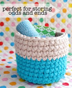 DIY: crochet nesting baskets. Get your Zpagetti yarn on LionBrand.com now!