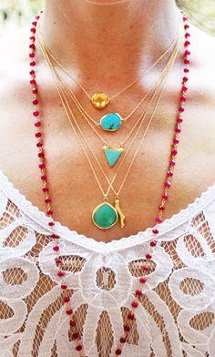 TURQUOISE bezel necklace. $45,00, via Etsy.