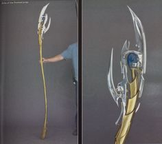 "Epic NERD CRAFT!! This one takes some mad skill and time, but its awesome DIY Loki's Scepter (Avengers) - Waoooo // WHOOOOA!!! It's gorgeous! And it was so weird - the other day, literally as soon as I woke up, my brain was planning how you would go about making one of these with a dowel, cardboard, and paper maché. I was like, ""Seriously, brain? I haven't even gotten up yet!"""