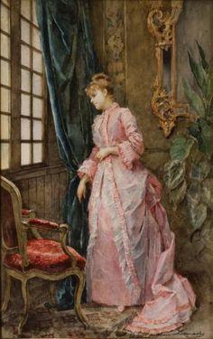 Interior: Lady at a Window (Expectation) Madeleine Lemaire c. 19th century