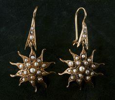 1890-1910s Pearl Sunburst Drop Earrings, 14K Gold