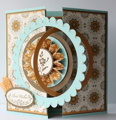 Beautiful card.  Interlocking circles.  Spice Cake paper.  From: Stampwithheather