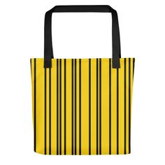 Only Yellow Black Stripes Tote Bag. The ONLY is a collection of beautiful, minimalistic yet striking single colored tote bags. Yellow Black, Black Stripes, Striped Tote Bags, Collection