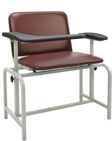 Extra-Wide Blood Drawing Chair features an adjustable armrest that flips up for easy access. Contoured padded urethane. Welded steel frame with durable grey powder-coated finish