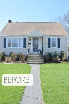 Exterior update and curb appeal cape cod style home front porch steps, hous Cap Cod Style Homes, Cape Style Homes, Cape Code Style House, Cape Cod Exterior, Front Porch Addition, Front Porch Steps, Front Entry, Front Doors, Summer Front Porches