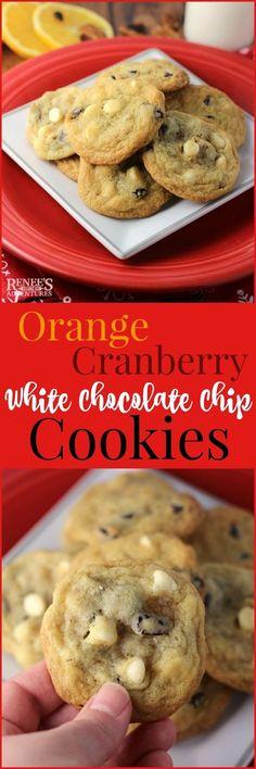 Orange Cranberry White Chocolate Chip Cookies | Renee's Kitchen Adventures - buttery drop cookies flavored with orange, cranberries, white chocolate chips and pecans. Dessert, Cookies, Recipe