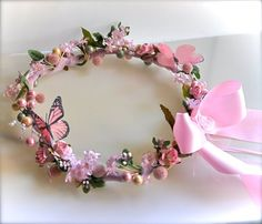 Flower Girl Floral Wreath Circelet. Fairy party, Butterfly party, or Princess party