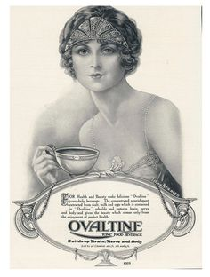 Beautiful flapper drinks Ovaltine (I like to think there's bootleg gin in there) - Found in Mom's Basement