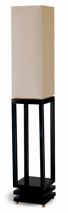 "Contemporary Style Black Wood Finish With Beige Canvas Shade Floor Lamp. This floor lamp stands 39""H and has a 2 way light switch. This lamp takes up to 60 watt bulbs. Light bulb not included with lamp. Some Assembly May Be Required. SKU 	CST900157"