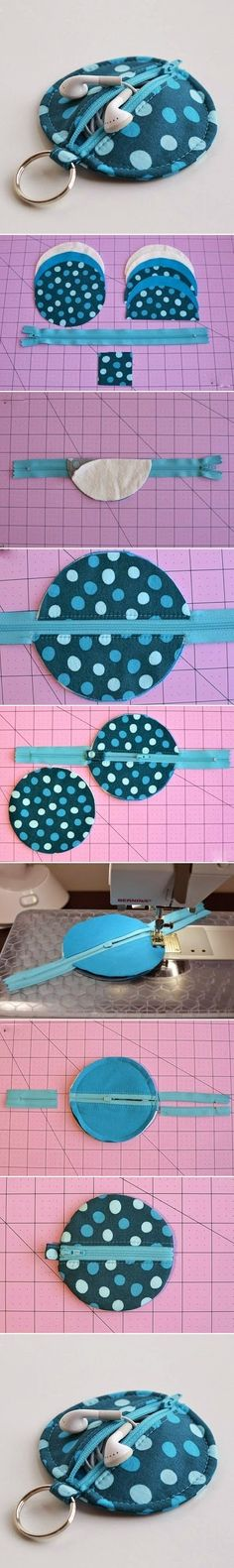 DIY Blue Polka Dot Earphone Case tutorial from Erin Erickson's blog: www.dogundermydesk.com/2011/11/circle-zip-earbud-pouch-tutorial/