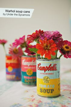 Super bright DIY Warhol-inspired soup can vases