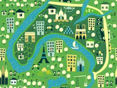 Cartoon Maps Series by Anastasiia Kucherenko in Colorful Map Illustration Designs