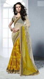 Yellow Crepe Jacquard Off White Net Half And Half Saree With Blouse MS851616
