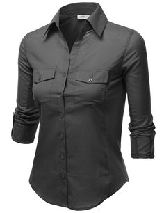 J.TOMSON Womens Button Down Cotton Shirt With Ribbed Side Trim DARK GRAY  SMALL