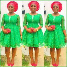 Last Beautiful Rock Green Aso Ebi Lace Styles. Here is green Aso ebi Lace Styles for those who love Aso Ebi Lace Styles, Lace Gown Styles, African Lace Styles, African Lace Dresses, Ankara Gown Styles, Latest African Fashion Dresses, African Print Fashion, Nigerian Fashion, Ankara Fashion