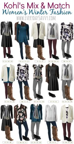 Winter Mix and Match Outfits From Kohls. Easily look put together and stylish without breaking the bank.