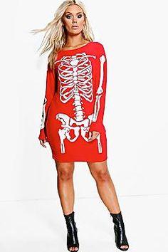 Plus Louise Skeleton Print Halloween Bodycon Dress