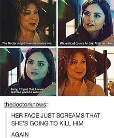 Funniest thing I saw of doctor who//but this is also sad since this was after the library ep where the doctor didnt know her yet.and now she hears that the doctor that seemed to love her barely talkes about her Geronimo, Serie Doctor, Doctor Who Funny, Doctor Who Tumblr, My Sun And Stars, 11th Doctor, Out Of Touch, Don't Blink, Film Serie