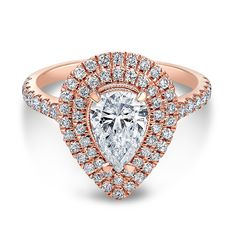 AMAZING 18kt Rose Gold Double Halo Pear Diamond Engagement Ring | The One Collection™ exclusively at Wedding Day Diamonds