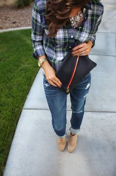 Checked/flannel shirt, skinnies, bling and cute heels
