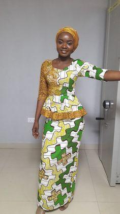Lace and Ankara fusion. Africa Style, Ankara Fashion, Kitenge, Africa Fashion, Ankara Styles, Warehouse, Peplum Dress, Chiffon, Celebrities