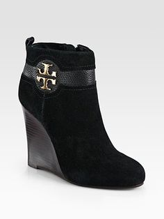 Tory Burch - Alaina Suede and Leather Wedge Ankle Boots - Saks.com Suede  Booties 78042ef065
