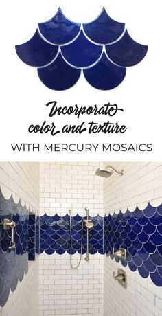 Love the added detail of the boarder! Incorporate cobalt blue tile moroccan fish scale tile with white subway tile into shower design with color and texture Fish Scale Tile, Appartement Design, Creation Deco, Blue Tiles, Beautiful Bathrooms, Bathroom Inspiration, Bathroom Ideas, Home Projects, Fish Scales