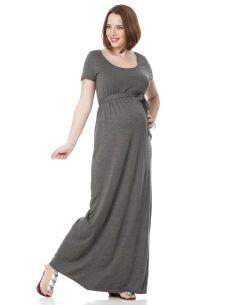 Short Sleeve Belted Maternity Maxi Dress